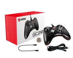 MSI FORCE GC20 Wired Pro Gaming Controller PC and Android PC and Android ready, adjustable D-Pad cover, Dual vibration motors, Ergonomic design, detachable cables ( FORCE GC20 )