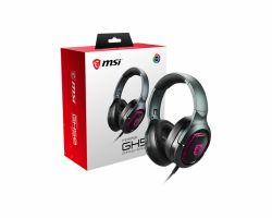 MSI IMMERSE GH50 7.1 Virtual Surround Sound RGB Gaming Headset Black with Ambient Dragon Logo, RGB Mystic Light, USB, inline audio controller, 40mm Drivers, detachable Mic ( IMMERSE GH50 )
