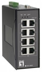 LevelOne 8-Port Industrial Fast Ethernet Switch, DIN-Schiene, -40°C to 75°C ( IES-0820 )