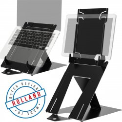 R-Go Tools R-Go Riser Duo, Tablet and Laptop Stand, adjustable, black ( RGORIDUOBL )