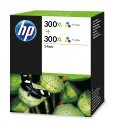 HP 300XL 2-pack High Yield Tri-color Original Ink Cartridges ( D8J44AE )