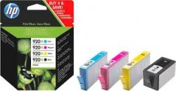 HP 920XL 4-pack High Yield Black/Cyan/Magenta/Yellow Original Ink Cartridges ( C2N92AE )