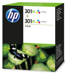 HP 301XL 2-pack Tri-color  Cyan,Magenta,Yellow Multipack 2 pc(s) ( D8J46AE )