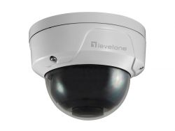 LevelOne GEMINI Fixed Dome IP Network Camera, H.265, 5-Megapixel, 802.3af PoE, Vandalproof, IR LEDs, two-way audio, Indoor/Outdoor ( 57301607 )