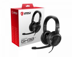 MSI IMMERSE GH30 V2 Gaming Headset Black with Iconic Dragon Logo, Wired Inline Audio with splitter accessory, 40mm Drivers, detachable Mic, easy foldable design ( S37-2101001-SV1 )
