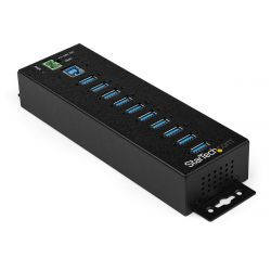 StarTech.com 10 Port USB Hub with Power Adapter - Surge Protection - Metal Industrial USB 3.0 Data Transfer Hub - Din Rail, Wall or Desk Mountable - High Speed USB 3.1 Gen 1 5Gbps Hub ( HB30A10AME )