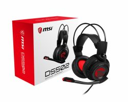 MSI DS502 7.1 Virtual Surround Sound Gaming Headset 'Black with Ambient Dragon Logo, Wired USB connector, 40mm Drivers, inline Smart Audio Controller, Ergonomic Design' ( DS502 GAMING )
